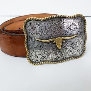 Vintage leather & silver Texas Longhorns belt